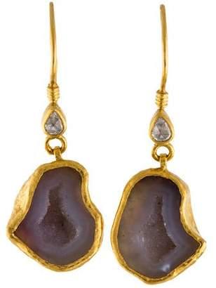 Gurhan 24K Mystere Geode & Diamond Drop Earrings