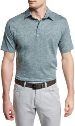 Ermenegildo Zegna Melange Striped Short-Sleeve Polo Shirt, Green