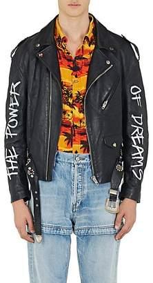 "Balenciaga Men's ""The Power Of Dreams"" Leather Moto Jacket - Black"
