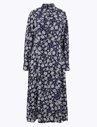 Marks and Spencer Floral Shirt Midi Dress