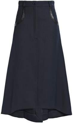 Nina Ricci Leather-Trimmed Flared Wool Midi Skirt