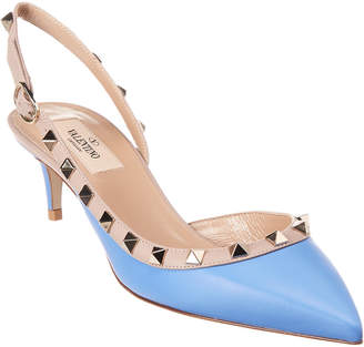 Valentino Rockstud 50 Leather Slingback Pump
