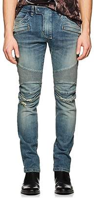 Balmain Men's Distressed Skinny Biker Jeans - Blue