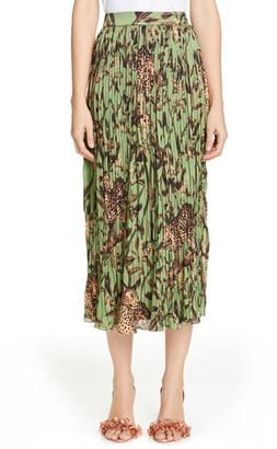 Johanna Ortiz Jaguar Print Pleated Midi Skirt