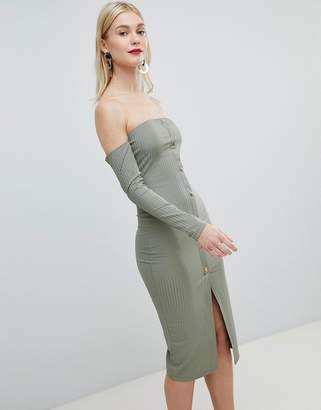 Asos DESIGN bandeau off shoulder bodycon midi dress with popper front in rib