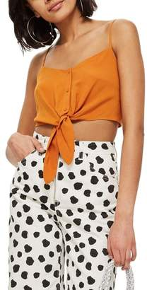 Topshop Knot Front Crop Camisole Top
