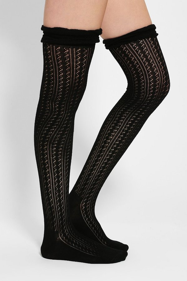 Urban Outfitters Ruffled Crochet Over-The-Knee Sock
