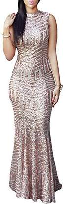 LOSRLY Womens Sexy Deep V-Neck Sequin Maxi Long Party Mermaid Cocktail Bodycon Dress PRIME S 4 6