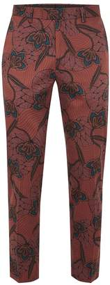 Topman Brown Printed Skinny Cropped Trousers