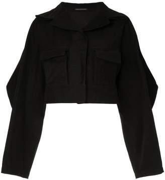 Yohji Yamamoto structured elbow cropped jacket