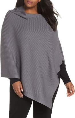 Eileen Fisher Diagonal Rib Cotton & Silk Blend Poncho