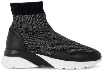 Hogan Active One Black Lurex And Leather Tight Sneaker