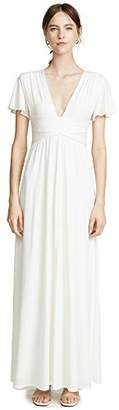 Halston Women's Flutter Short Sleeve Deep V Wrap Jersey Gown