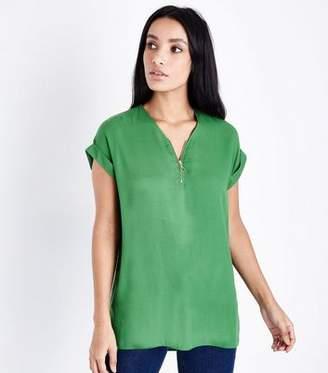 New Look Green Zip Front Tunic Top