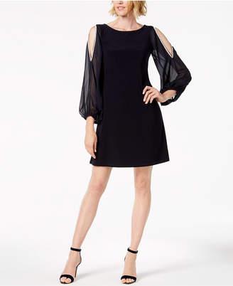 MSK Rhinestone Cold-Shoulder Chiffon-Sleeve Dress