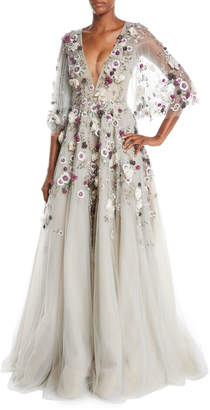 Marchesa Plunging V-Neck Cape-Sleeve Floral-Applique Evening Gown