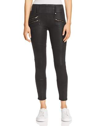 Hudson High Rise Moto Zip Skinny Jeans in Black Wax