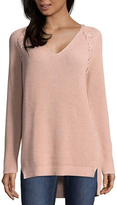 A.N.A Long Sleeve Lace-Up Detail Pullover Sweater