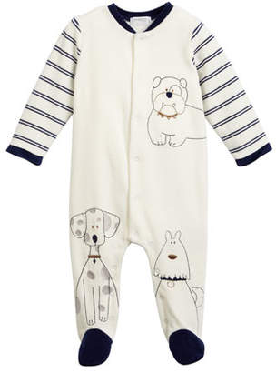 Mayoral Sketched Doggies Embroidered Footie Pajamas, Size 1-9 Months