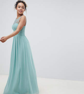 Little Mistress Petite Embellished Top Maxi Dress In Sage