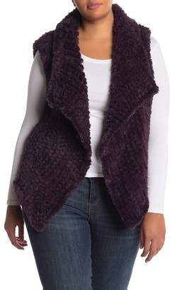 Bagatelle Faux Fur Open Front Vest (Plus Size)
