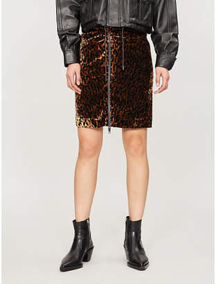 The Kooples Leopard-print velvet skirt
