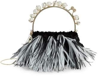 Rosantica Velvet Feather-Trimmed Diana Clutch Bag
