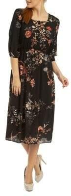 Dex Floral Lace-Up Midi Dress