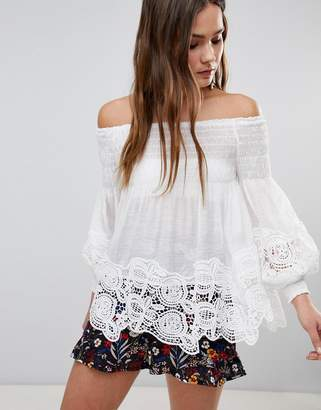 Parisian Off Shoulder Shirred Detail Top With Crochet Hem