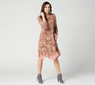Logo By Lori Goldstein LOGO Lounge by Lori Goldstein Brushed Jersey Dress w/ Ruffle Chiffon Hem