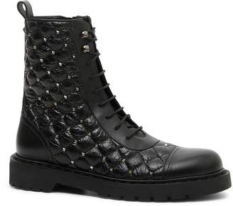 Valentino Rockstud Quilted Combat Boot