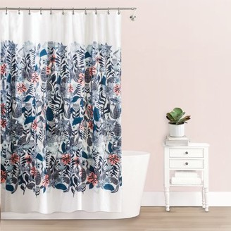 "Splash Home Florelo Polyester Fabric Shower Curtain, 70"" x 72"", Blue / Coral"