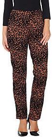 Nobrand NO BRAND Women With Control Petite Leopard Flocked SlimLeg Pants