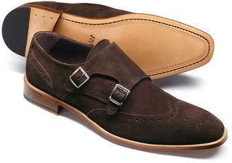 Charles Tyrwhitt Brown Suede Double Buckle Monk Shoe Size 12