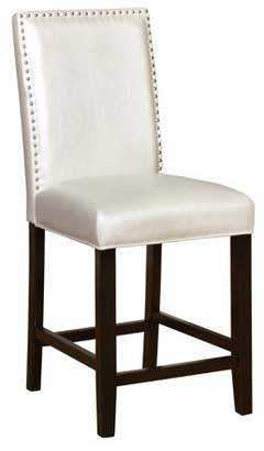 Linon Stewart Pearl Faux Leather Counter Stool, Black Frame, 24 inch Seat Height
