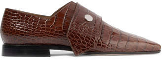 Victoria Beckham Daxton Croc-effect Leather Loafers - Brown