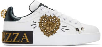 Dolce & Gabbana White and Green Heart Portofino Sneakers