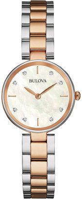 Bulova Women's Diamond-Accent Two-Tone Stainless Steel Bracelet Watch 27mm 98P147 $299 thestylecure.com