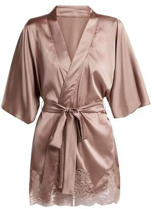 Fleur of England Lace Trimmed Silk Blend Kimono - Womens - Light Brown