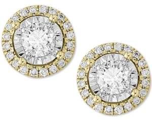 Effy Diamond Halo Stud Earrings (1/2 ct. t.w.) in 14k Gold & 14k White Gold
