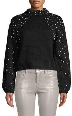 Faux Pearl-Embellished Sweater