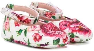 Dolce & Gabbana touch strap floral ballerinas