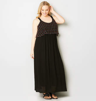 Avenue Mesh Dot Overlay Maxi Dress