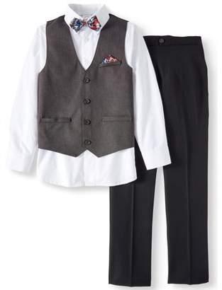Wonder Nation Charcoal Birdseye Dressy Vest with Dress Shirt, Twill Pants & Bowtie, 4-Piece Outfit Set (Little Boys & Big Boys)