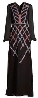 BCBGMAXAZRIA Chiffon Long Sleeve Gown