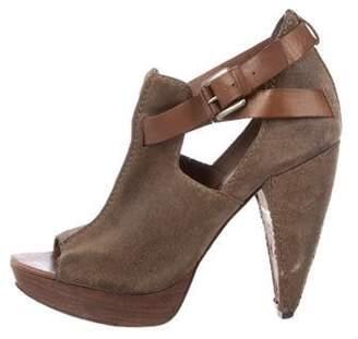 AllSaints Suede Cutout Sandals Olive Suede Cutout Sandals