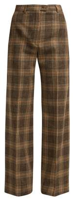 Acne Studios Prince Of Wales Check Wool Blend Trousers - Womens - Brown Multi