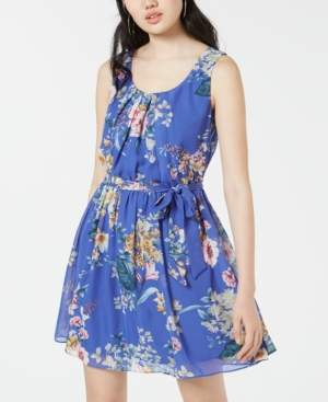 BCX Juniors' Floral-Print Chiffon Fit & Flare Dress