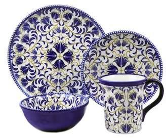 Lorren Home Trends Bimini Beaded 16 Piece Set Dinnerware Set, Service for 4
