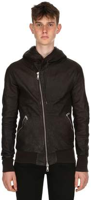 Giorgio Brato Hooded Washed Nappa Leather Jacket